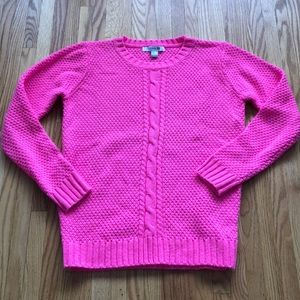 Forever 21 hot pink cable sweater